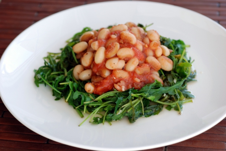 Mediterranean Beans atop Lemony Arugula