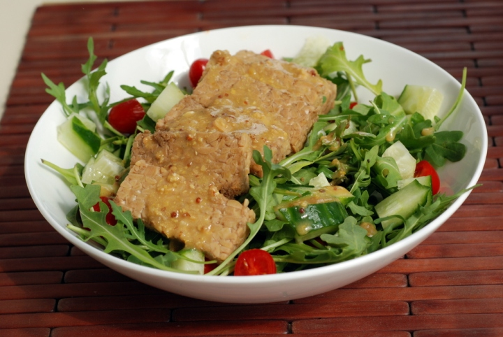 Tempeh and Arugula Salad with a Mustard Miso Dressing