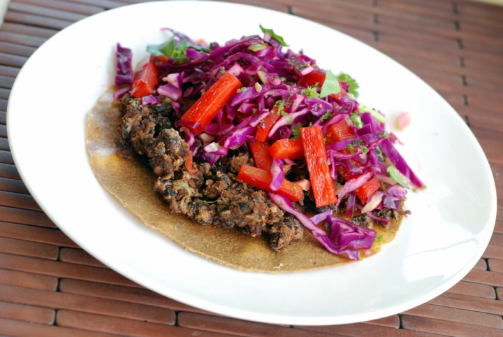 Black Bean Tostadas with Tangy Cabbage