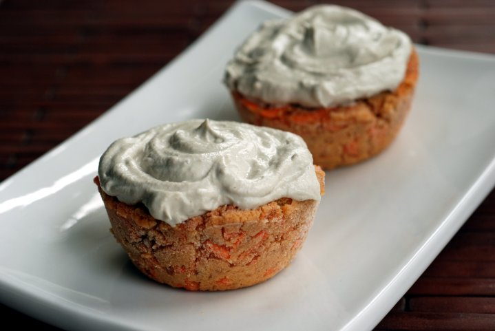 Enlightened Raw Carrot Cupcakes with Apple-Cashew Frosting