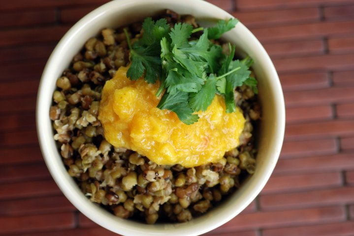 Indian Mung Beans with Fresh Mango Chutney