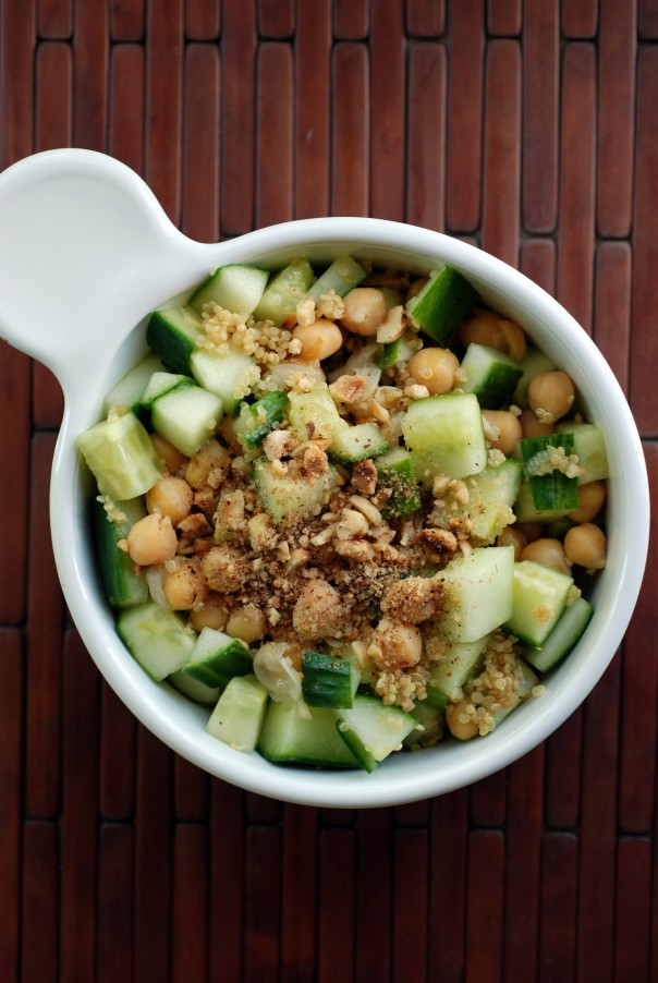 Lemony Cucumber and Chickpea Salad with Dukkah
