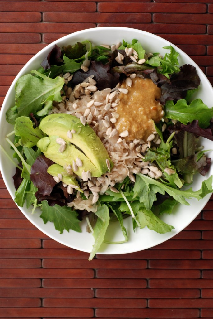 Avocado and Sauerkraut Salad with a Creamy Miso-Ginger Dressing