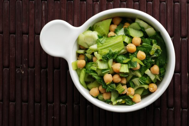 Quickie Balsamic Miso Chickpeas and Baby Bok Choy