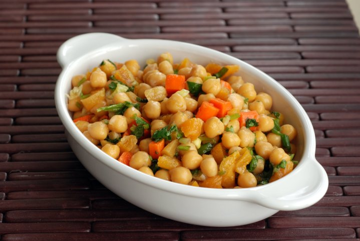 Chickpea and Apricot Salad with a Pineapple-Ginger-Cilantro Dressing