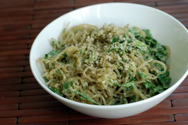 Kelp Noodles and Kale with an Avocado-Miso Sauce
