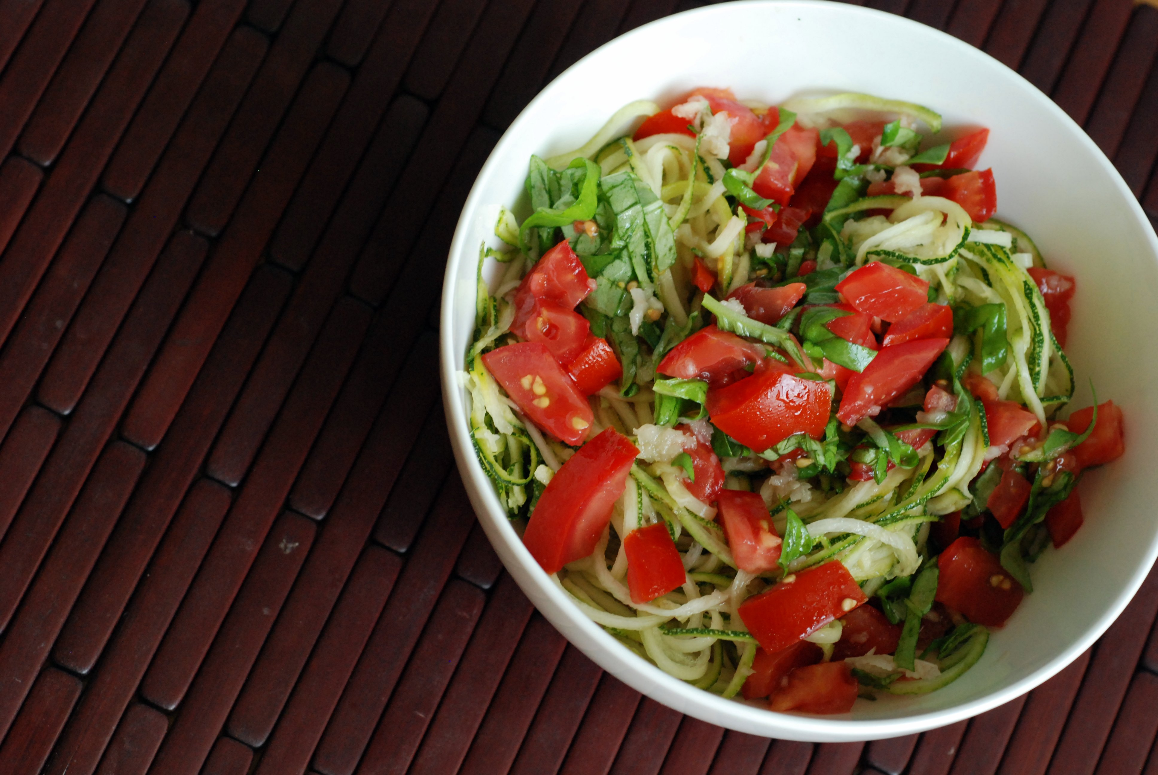 Tomato-Basil Zucchini Noodle Salad | the taste space