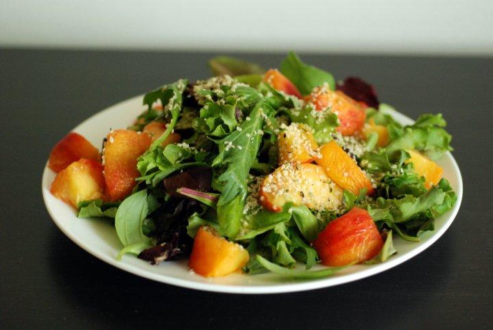 Peach, Basil and Hemp Salad with a Citrus Vinaigrette