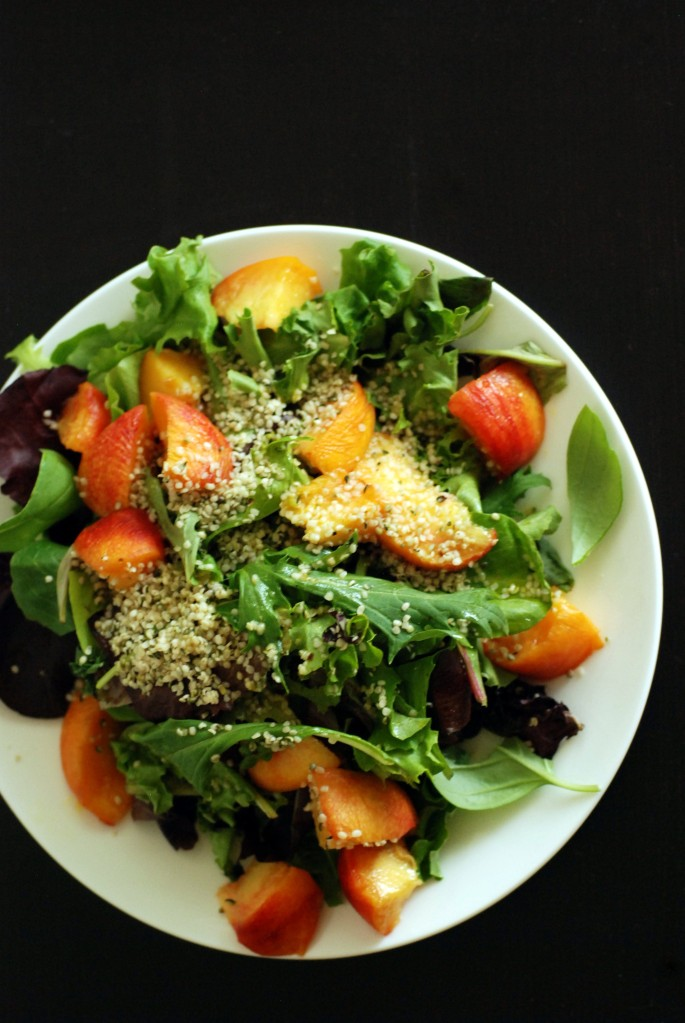 Peach, Basil and Hemp Salad with a Citrus Vinaigrette