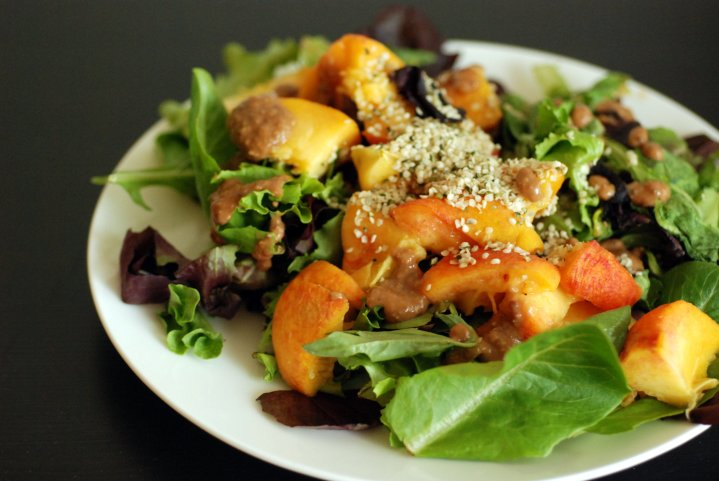 Peach and Hemp Salad with a Creamy Balsamic Hummus Dressing