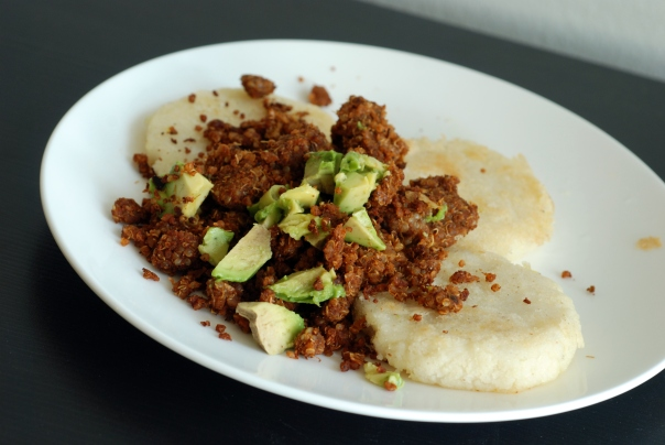 bean-Quinoa Chorizo Crumbles with Arepas