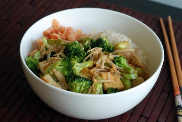 Enoki, Broccoli & Kimchi Tofu Rice Bowl