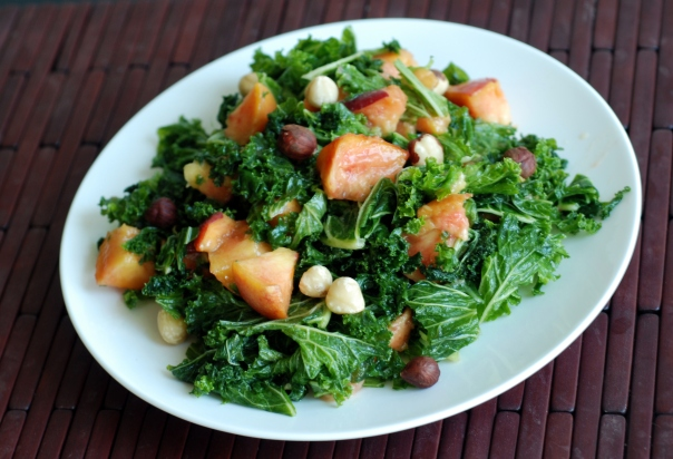 Peach & Hazelnut Kale Salad with Maple Miso Vinaigrette