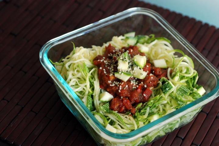Raw Chunky Tomato Marinara Sauce with Zucchini Noodles