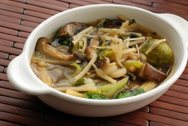 Wild Mushroom and Minted Brussels Faux Pho