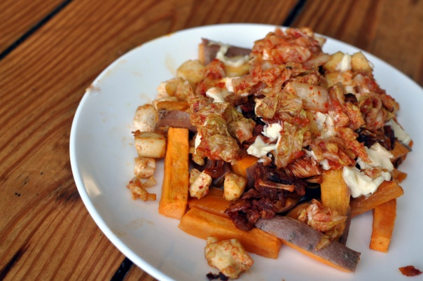 Jackfruit and Kimchi Sweet Potato Poutine with Tofu