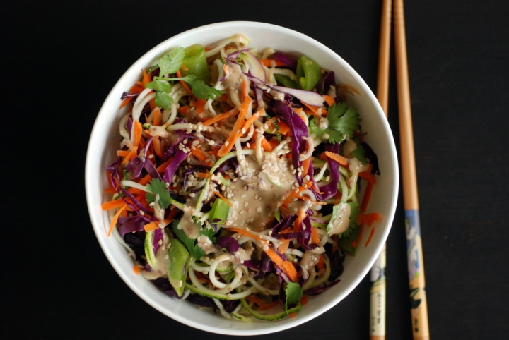 Colourful Veggie Tahini Noodles