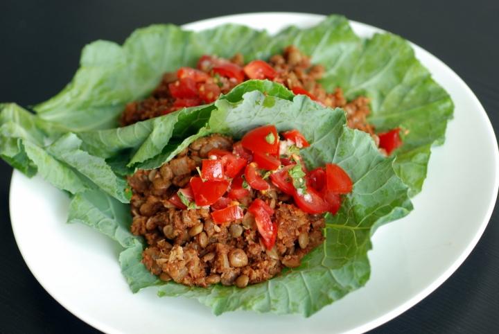Lentil & Cauliflower Tacos with Fresh Tomato Oregano Salsa