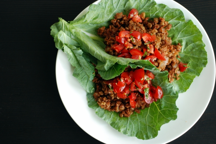 Lentil & Cauliflower Tacos with Fresh Tomato Oregano Salsa