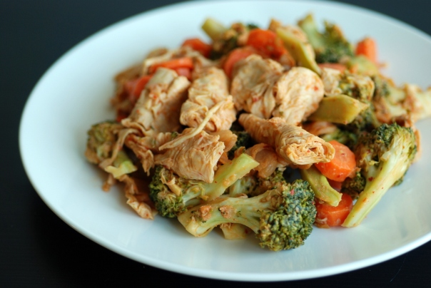 Miso-Kimchi Vegetable Stir-Fry with Bean Curd Skin