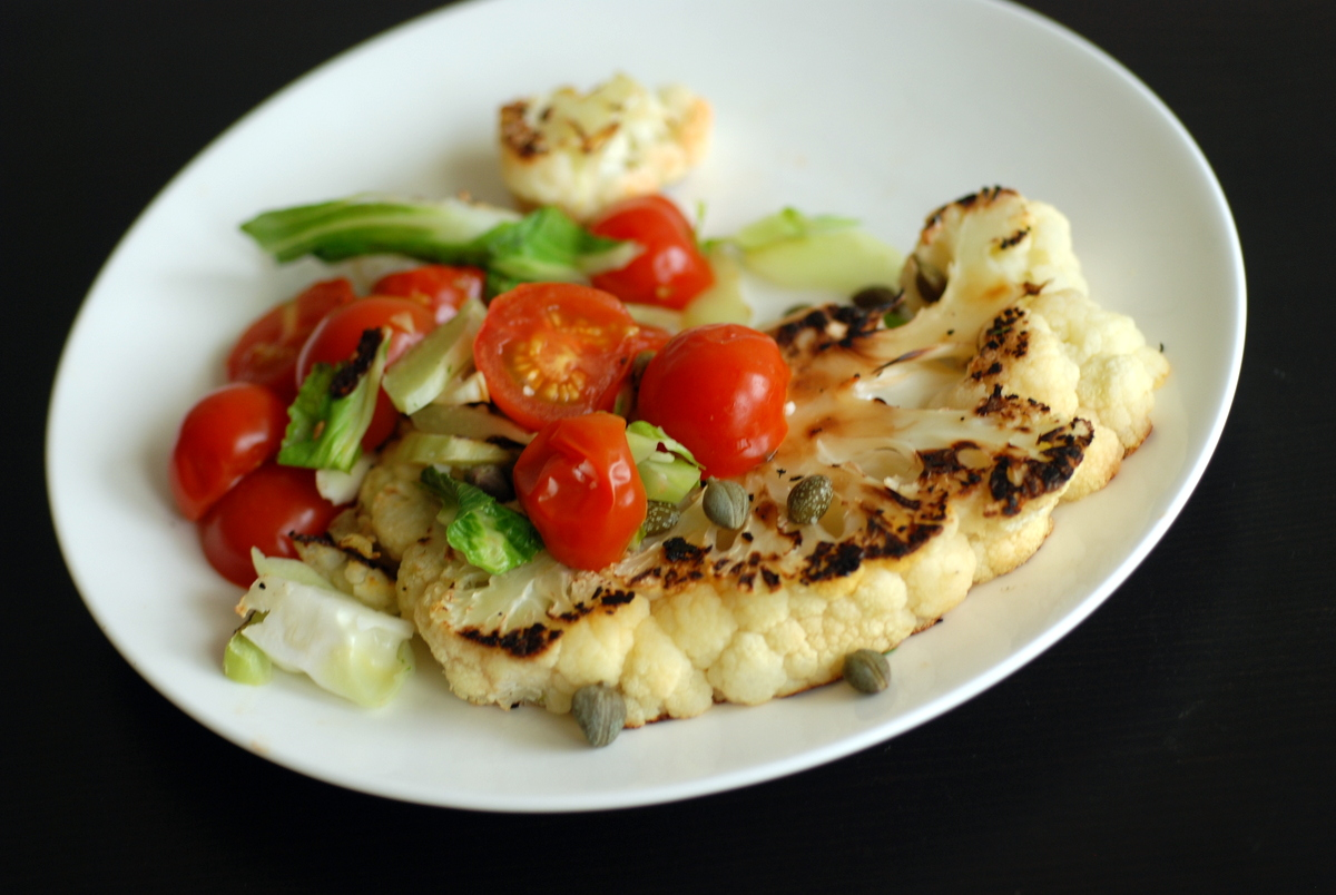Pan-Roasted Cauliflower Steaks with Tomatoes and Capers (& Eating ...