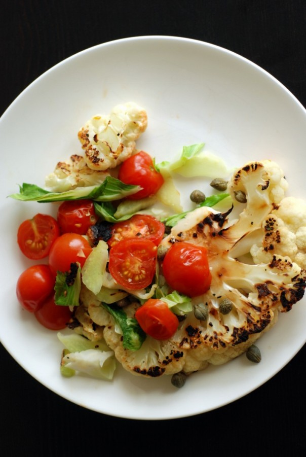 Pan-Roasted Cauliflower Steaks with Tomatoes and Capers