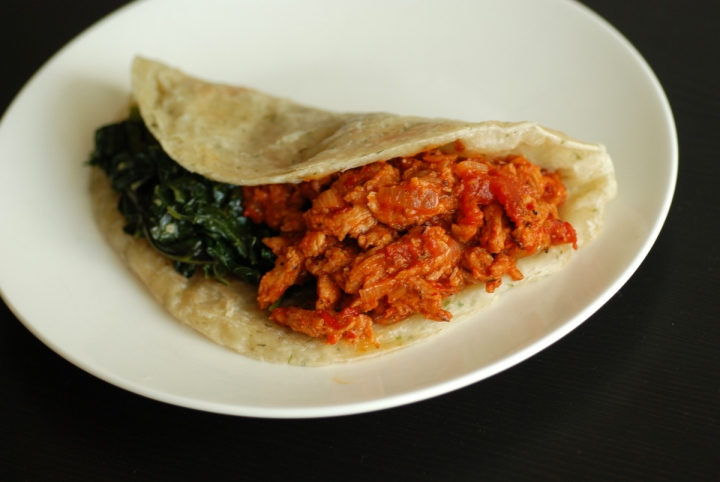 Soy Curled Sloppy Joes with Creamed Spinach Wrap