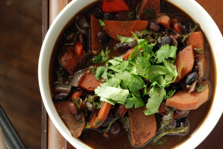 Black Bean Soup with Roasted Red Peppers, Lime and Cilantro
