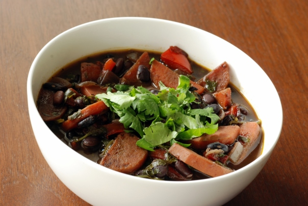 Mexican Black Bean Soup with Roasted Red Peppers, Lime and Cilantro