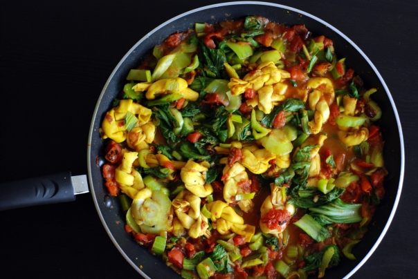 Curried Ginger Date Bok Choy and Soy Knots
