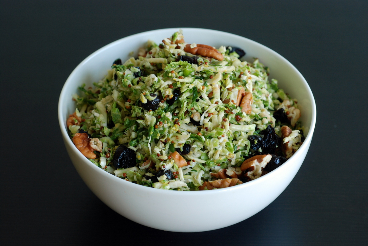 Maple-Dijon Shredded Brussels Sprouts Salad with Pecans and ...