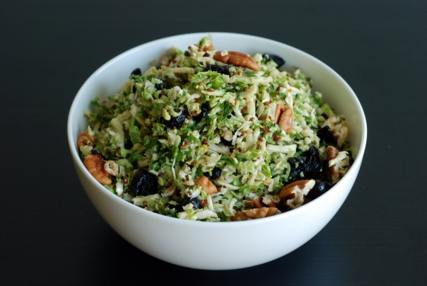 Maple-Dijon Shredded Brussels Sprouts Salad with Pecans and Cranberries