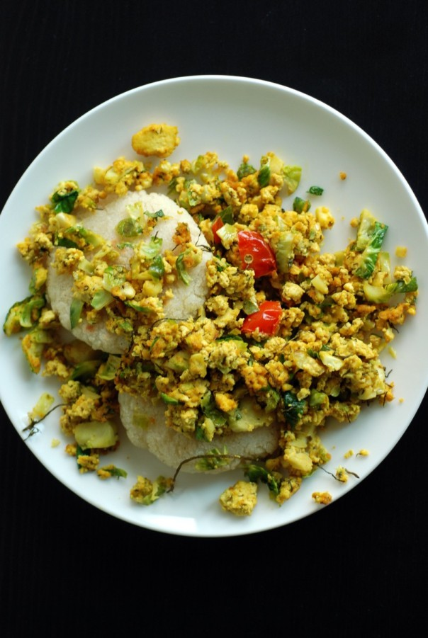 Curried Dill Tofu Scramble with Brussels Sprouts and Arepas