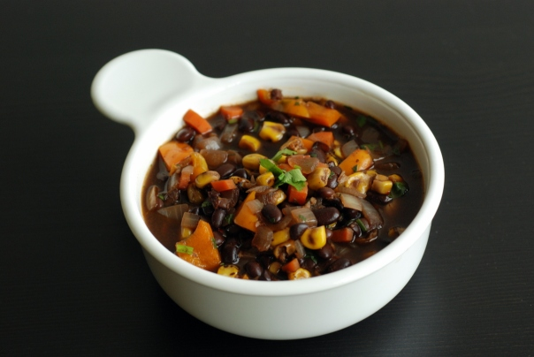 Brazilian Black Bean Soup with Plantain Chips