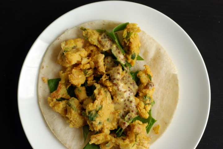 Breakfast Taco with Soy-free Cheesy Vegan Scrambled Eggs