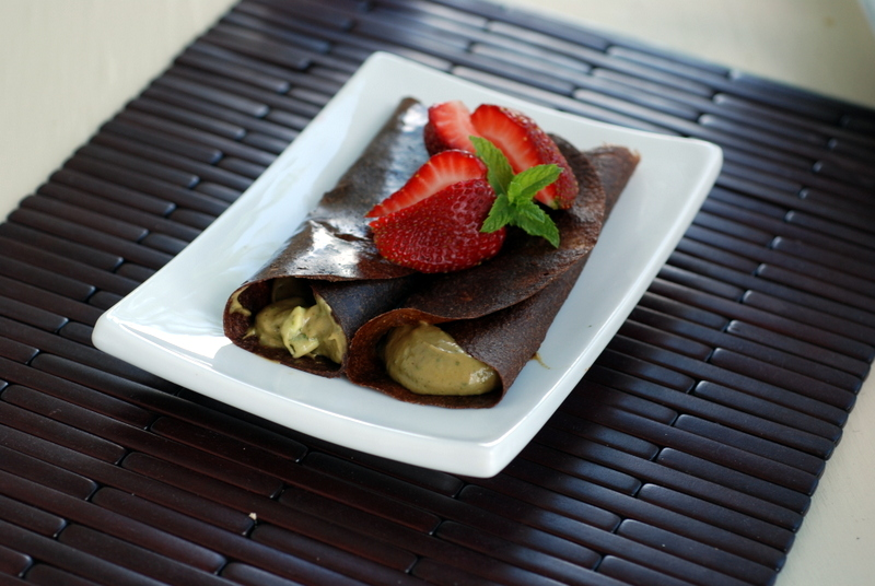 Raw Grasshopper Crepes (Carob Crepes filled with a Avocado-Mint Cream)