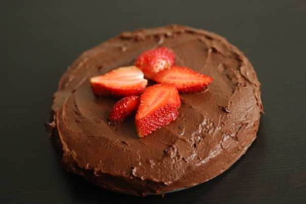 Raw Brownie Cake with a Chocolate Avocado Frosting