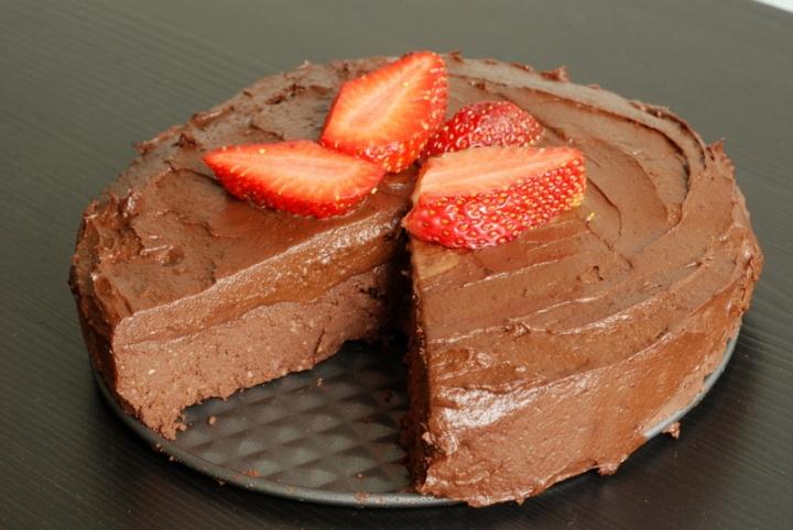 Raw Brownie Cake with a Chocolate Avocado Frosting