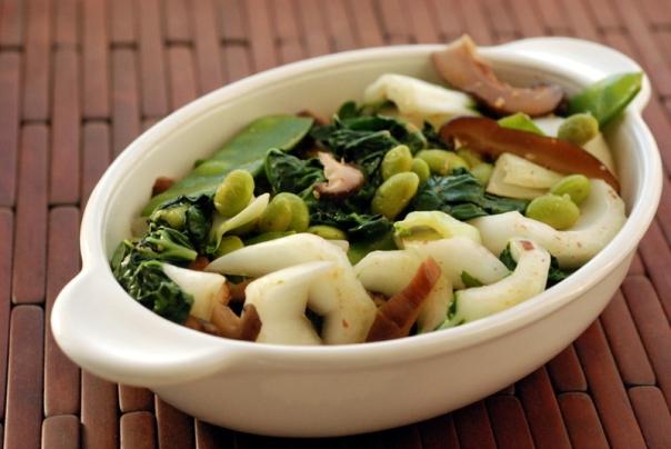 Bok Choy, Mushroom and Edamame Miso Stir Fry