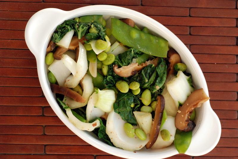 Bok Choy Mushroom and Edamame Miso Stir Fry