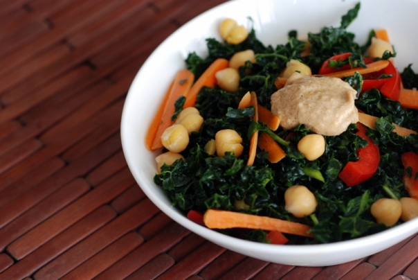 Thai Chickpea & Kale Salad Rolls with Peanut Dressing