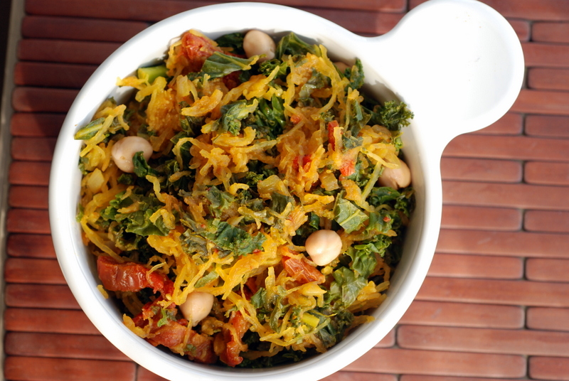 Kale Ribbons with Curried Spaghetti Squash