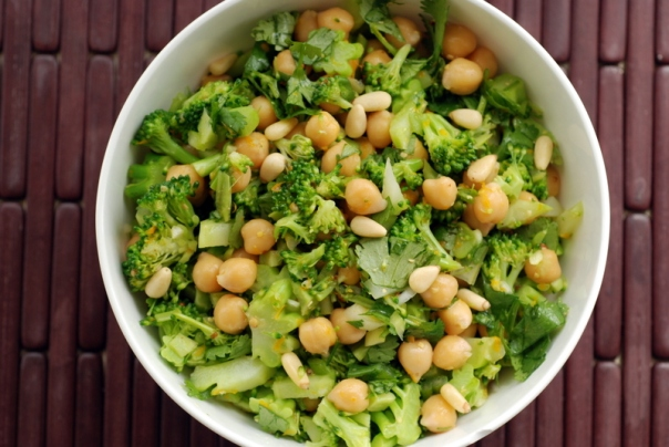 Lemon-Cilantro Broccoli and Chickpea Salad