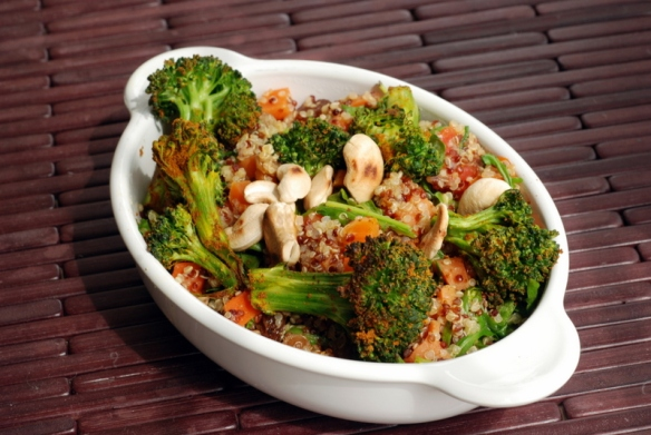 Roasted Broccoli and Quinoa Salad with Quick-Pickled Raisins
