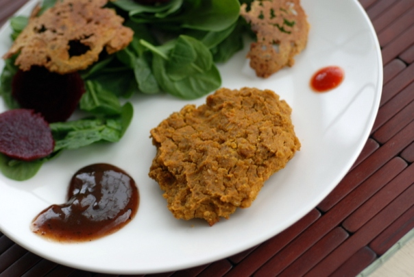 Pumpkin Fenugreek Curry repurposed into Curry Burgers
