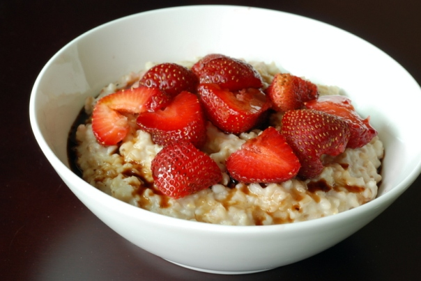 Strawberry Vanilla Steel Cut Oats with Mosto Cotto