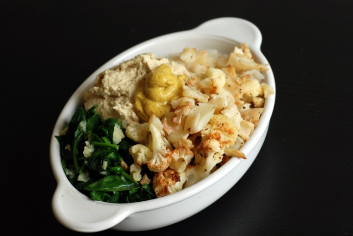 Roasted Cauliflower and Mustard-Hummus Rice Bowl with Garlicky Spinach & A Vegan Mustard Tasting Party