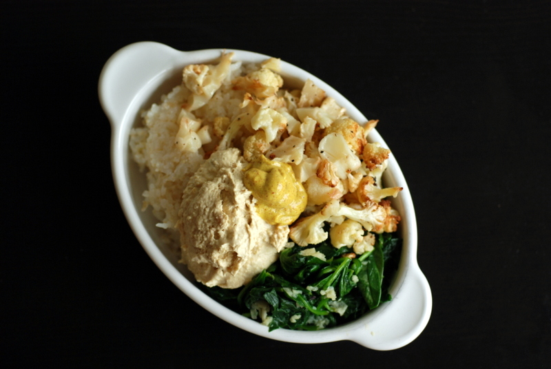 Roasted Cauliflower and Mustard-Hummus Rice Bowl with Garlicky Spinach ...