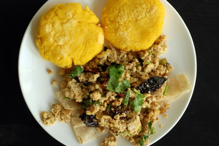 Tofu Migas with Arepas