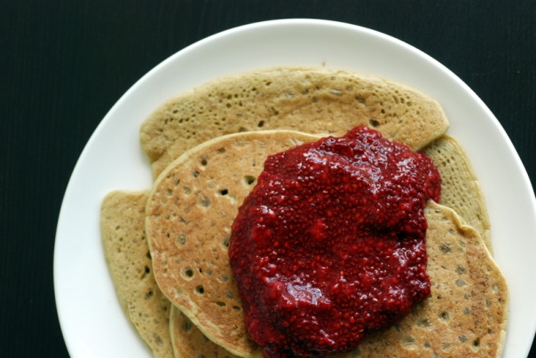 Sweet Chickpea Flour Pancakes with Quickie Raspberry Chia Jam